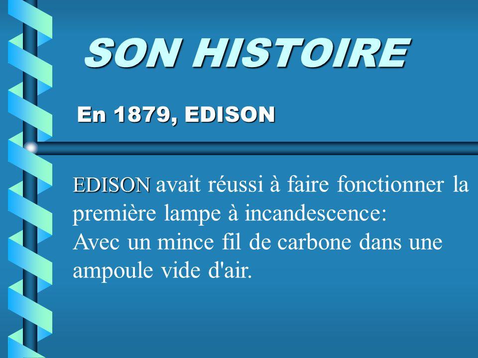 SON HISTOIRE Avec un mince fil de carbone dans une ampoule vide d air.
