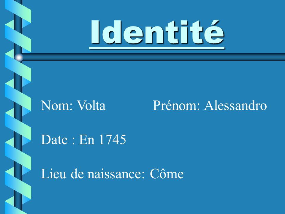 Identité Nom: Volta Prénom: Alessandro Date : En 1745