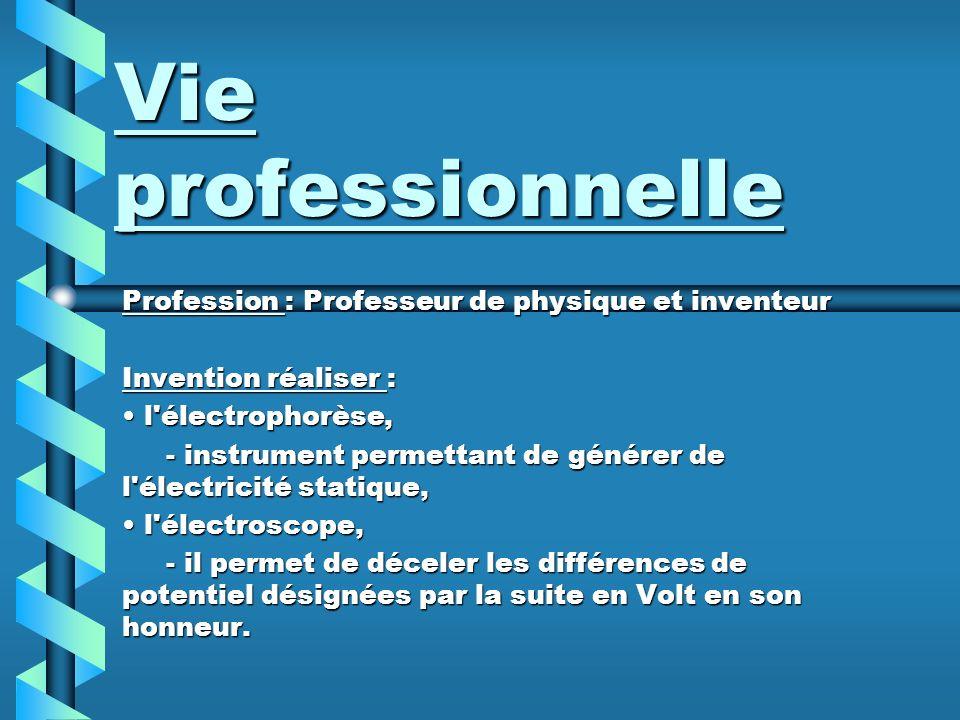 Vie professionnelle Profession : Professeur de physique et inventeur