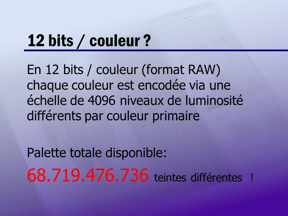 12 bits / couleur 68.719.476.736 teintes différentes !