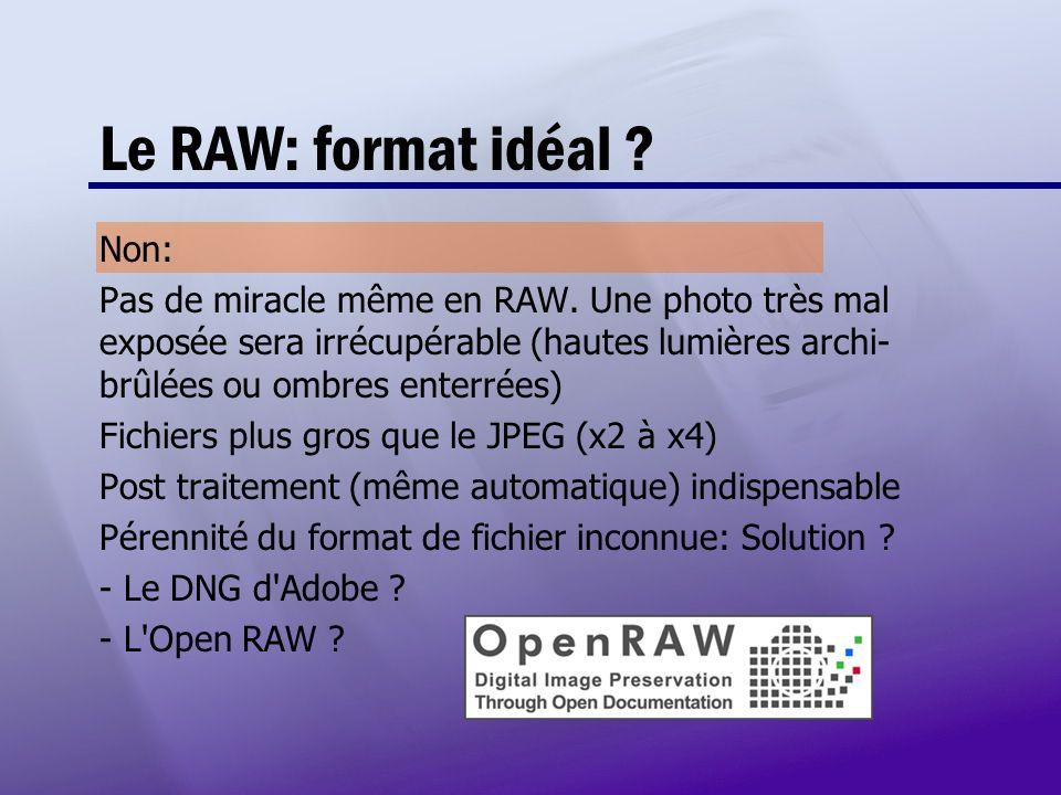 Le RAW: format idéal Non: