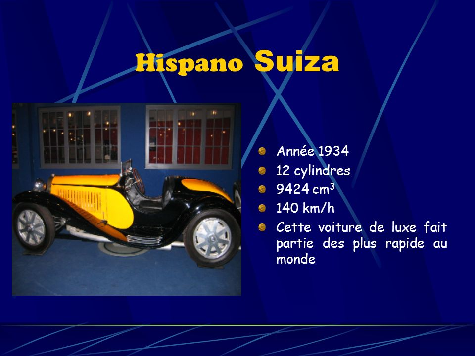 Hispano Suiza Année cylindres 9424 cm3 140 km/h