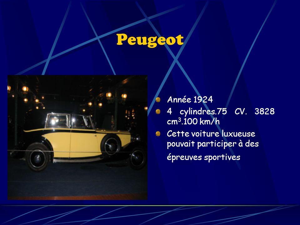 Peugeot Année 1924 4 cylindres.75 CV. 3828 cm3.100 km/h