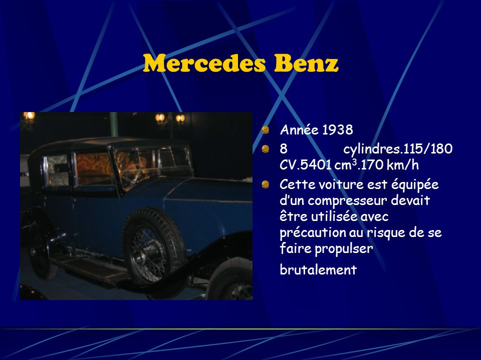 Mercedes Benz Année 1938 8 cylindres.115/180 CV.5401 cm3.170 km/h