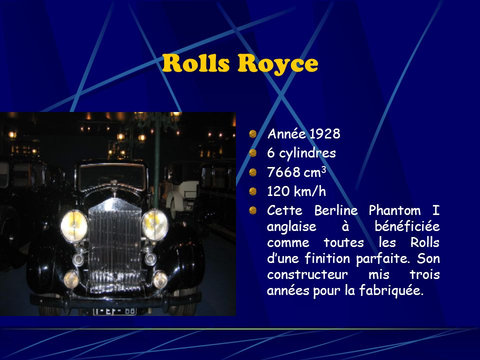 Rolls Royce Année 1928 6 cylindres 7668 cm3 120 km/h