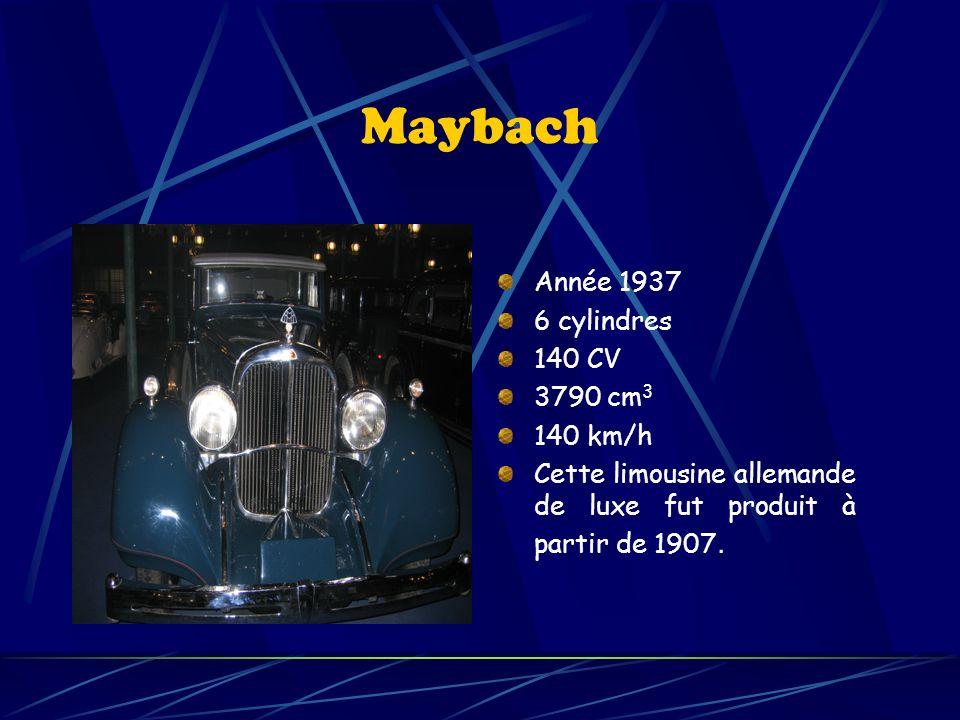 Maybach Année 1937 6 cylindres 140 CV 3790 cm3 140 km/h