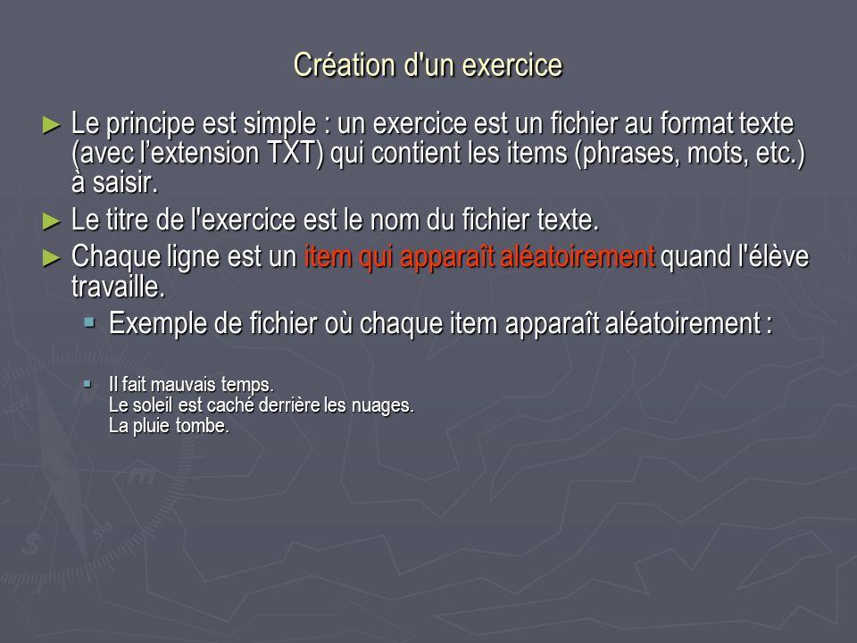 Création d un exercice
