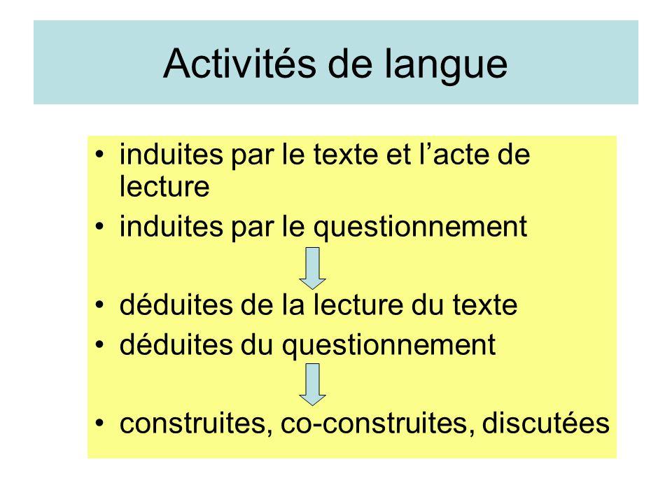 Activités de langue induites par le texte et l'acte de lecture