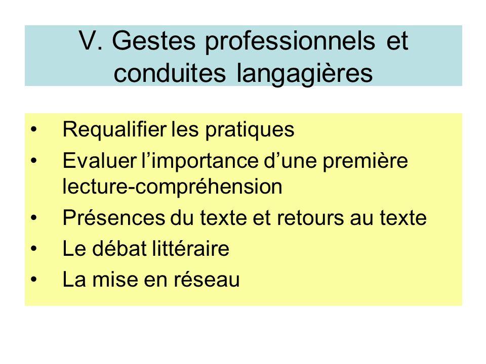 V. Gestes professionnels et conduites langagières