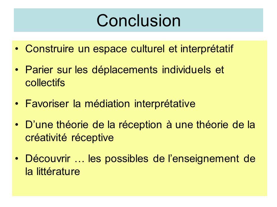 Conclusion Construire un espace culturel et interprétatif