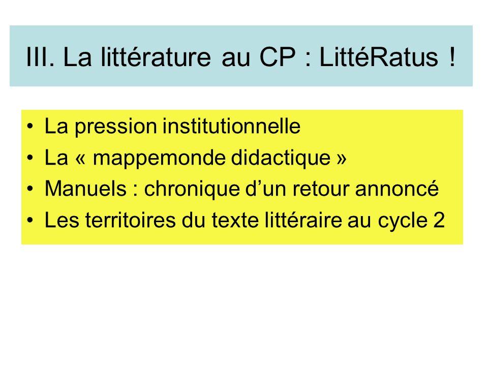 III. La littérature au CP : LittéRatus !