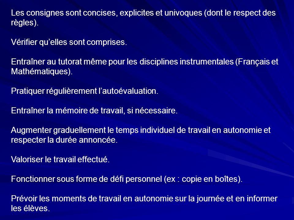 Les consignes sont concises, explicites et univoques (dont le respect des règles).