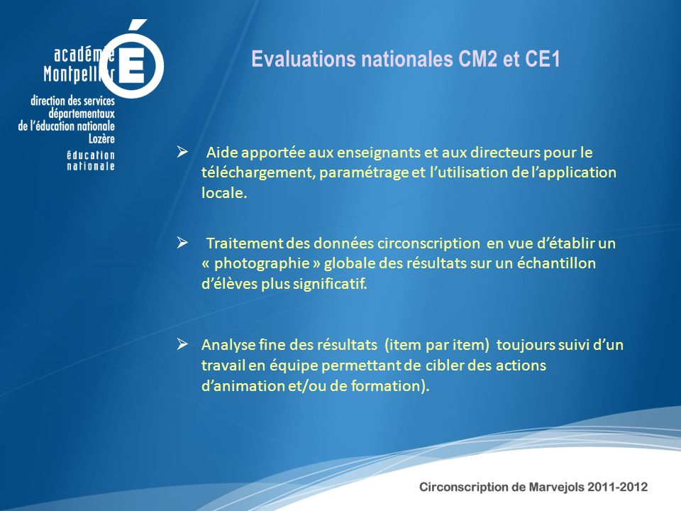 Evaluations nationales CM2 et CE1