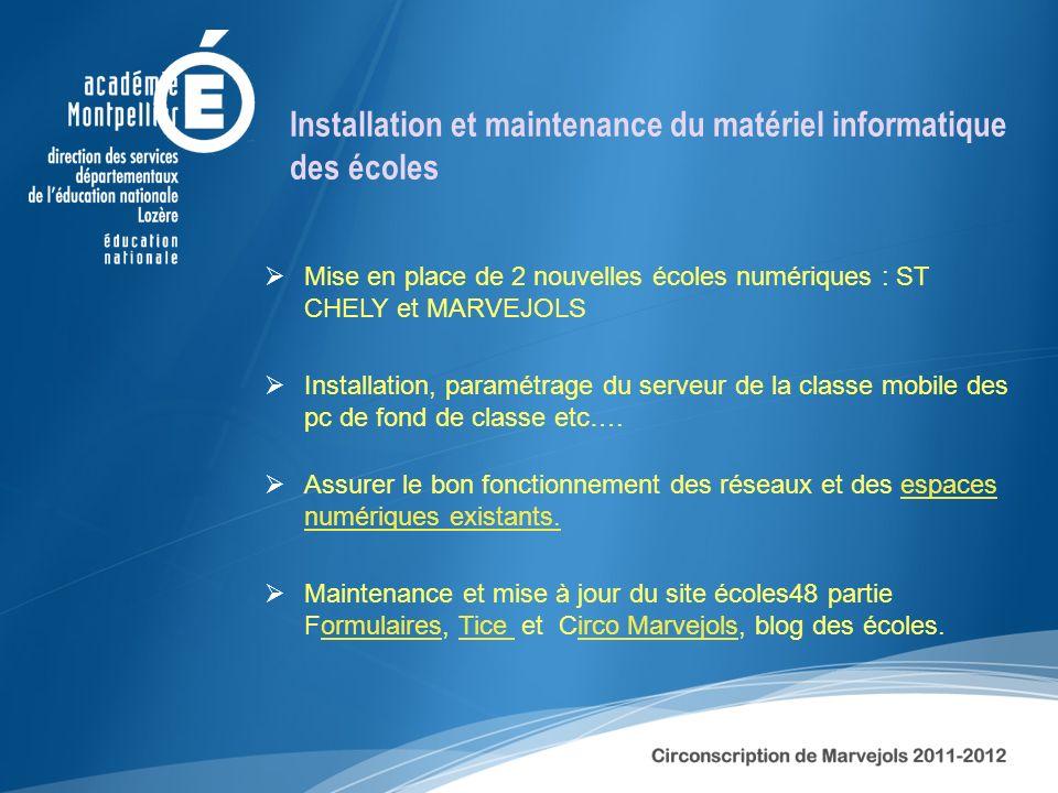 Installation et maintenance du matériel informatique des écoles