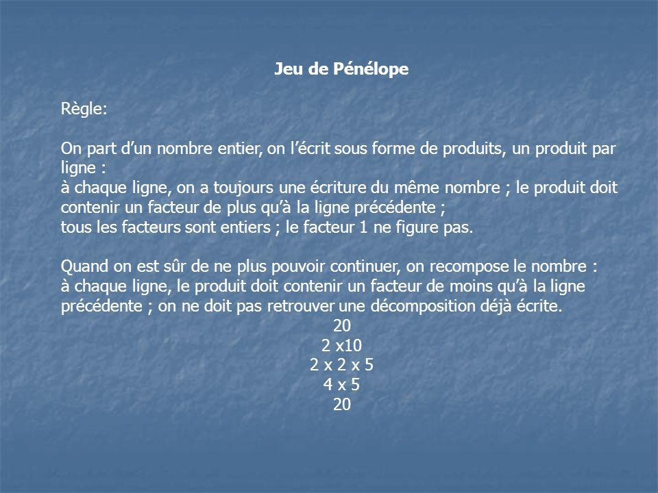 Jeu de PénélopeRègle: On part d'un nombre entier, on l'écrit sous forme de produits, un produit par ligne :