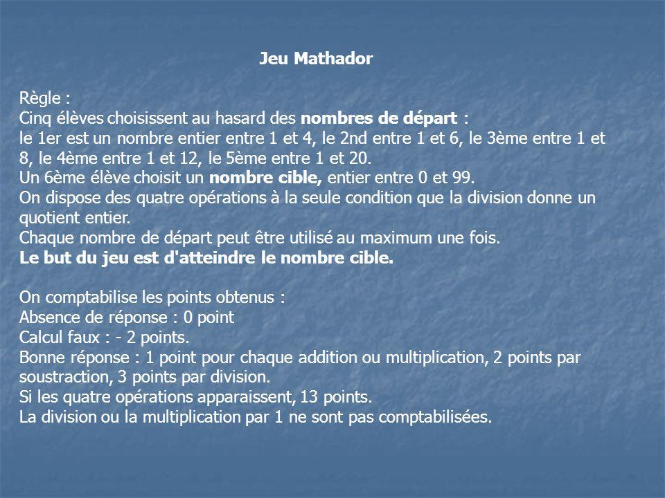 Jeu MathadorRègle : Cinq élèves choisissent au hasard des nombres de départ :