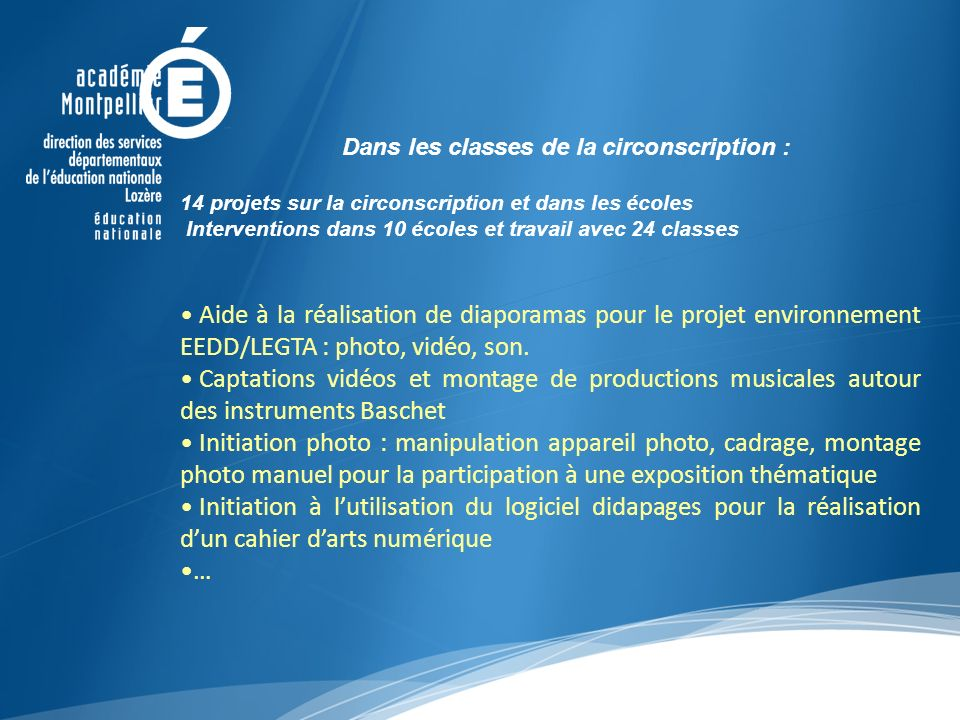 Dans les classes de la circonscription :