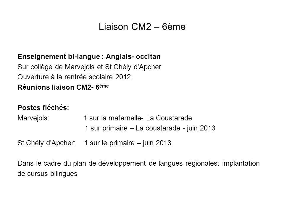 Liaison CM2 – 6ème Enseignement bi-langue : Anglais- occitan