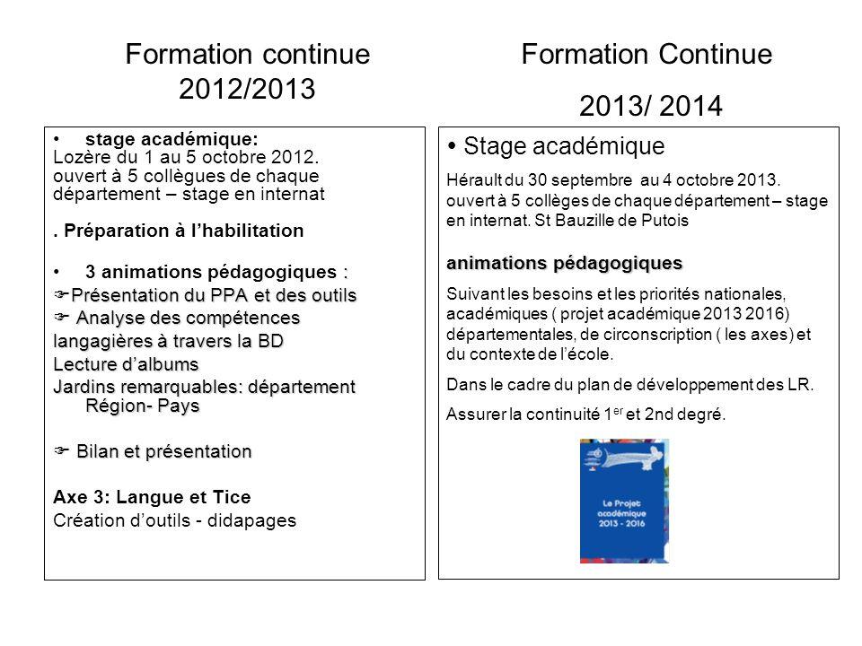 Formation continue 2012/2013 Formation Continue 2013/ 2014