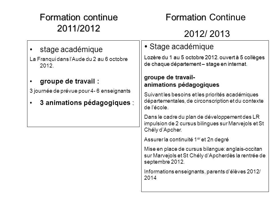 Formation continue 2011/2012 Formation Continue 2012/ 2013