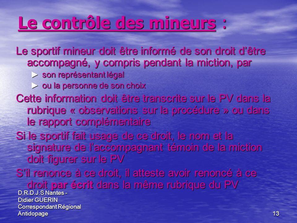 Le contrôle des mineurs :