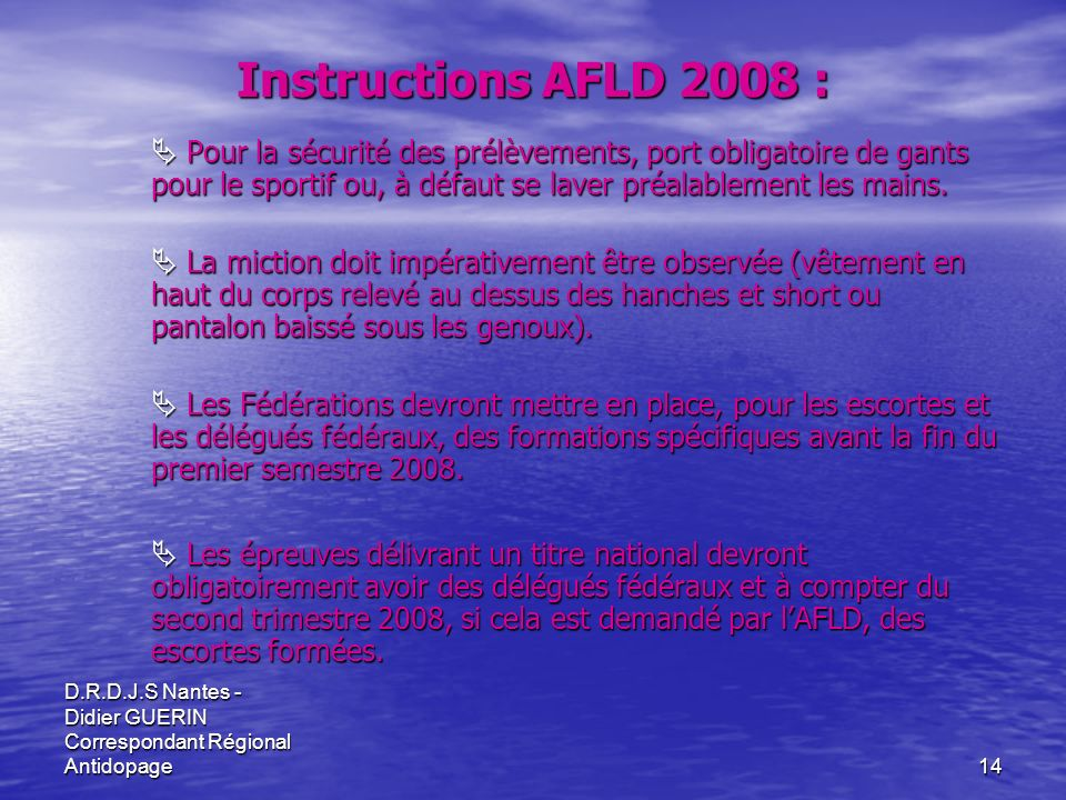 Instructions AFLD 2008 :