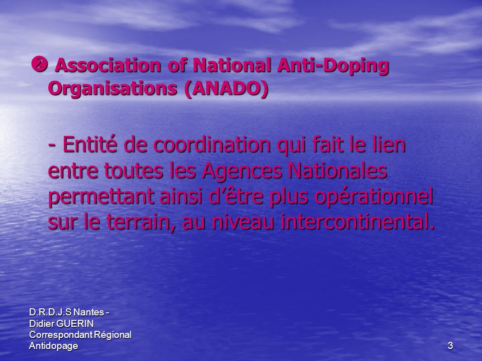  Association of National Anti-Doping Organisations (ANADO)