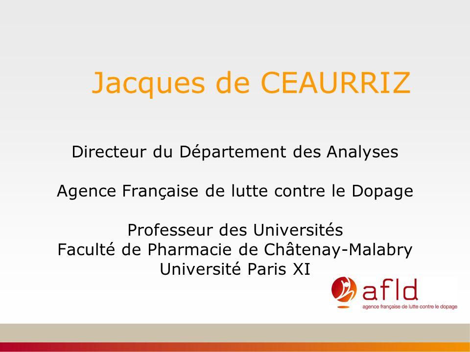 Jacques de CEAURRIZ Directeur du Département des Analyses