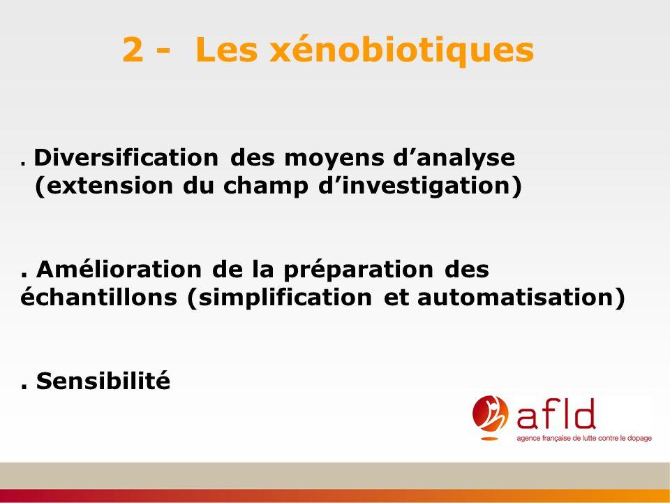 2 - Les xénobiotiques . Diversification des moyens d'analyse (extension du champ d'investigation)