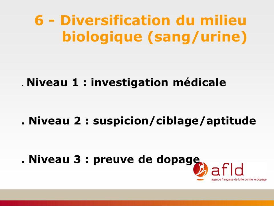 6 - Diversification du milieu biologique (sang/urine)