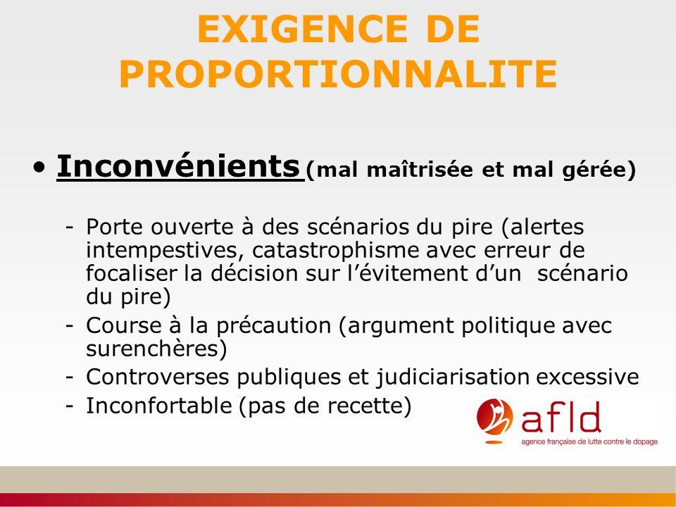 EXIGENCE DE PROPORTIONNALITE