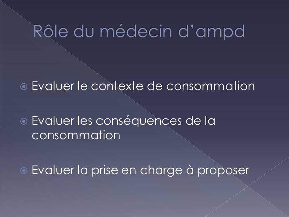 Rôle du médecin d'ampd Evaluer le contexte de consommation