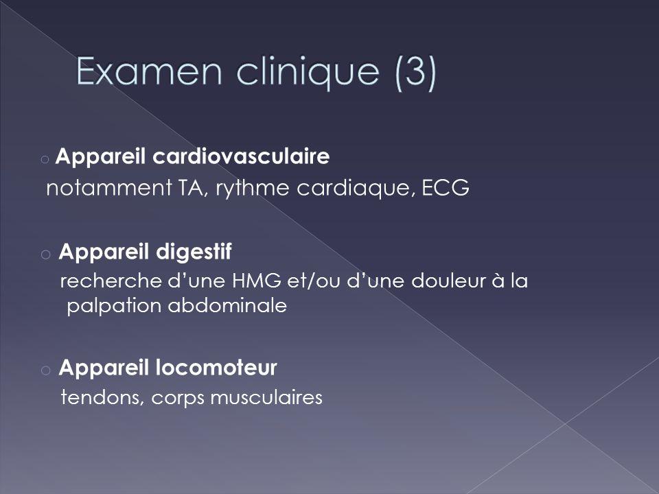 Examen clinique (3) notamment TA, rythme cardiaque, ECG