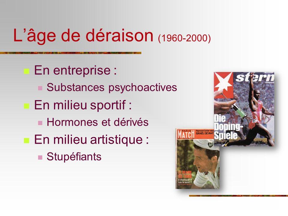 L'âge de déraison (1960-2000) En entreprise : En milieu sportif :
