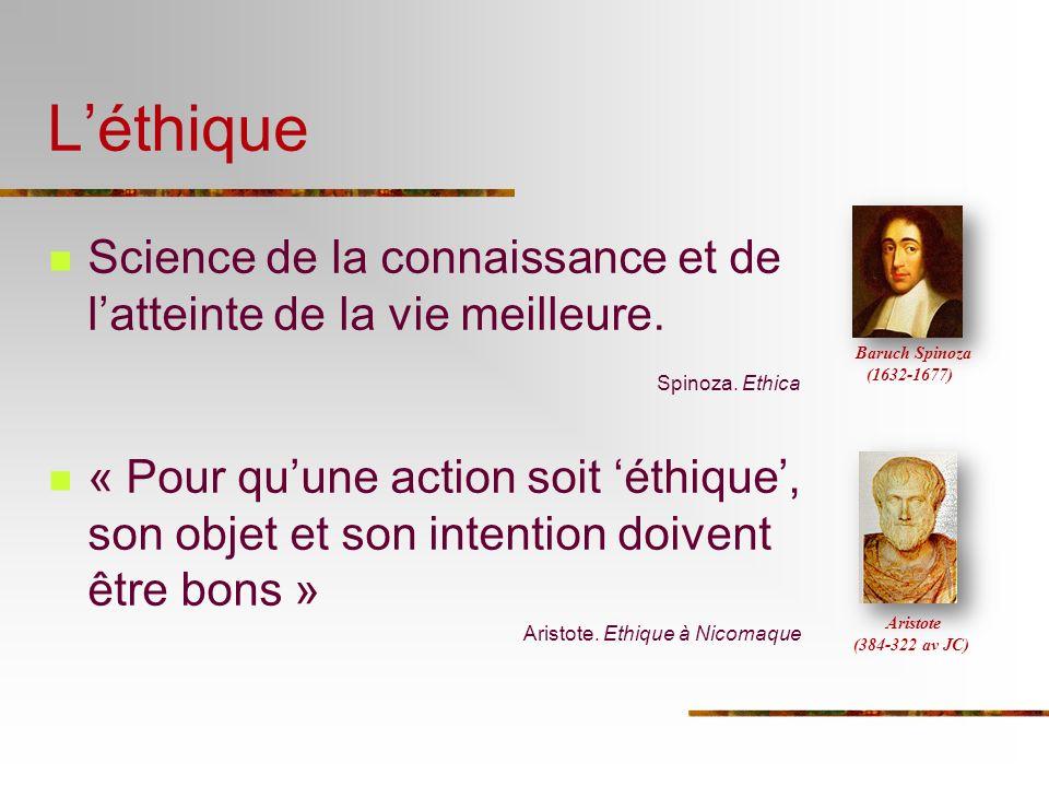 L'éthique Baruch Spinoza (1632-1677) Science de la connaissance et de l'atteinte de la vie meilleure.