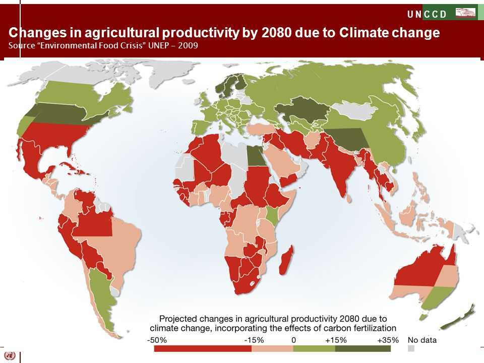 Changes in agricultural productivity by 2080 due to Climate change Source Environmental Food Crisis UNEP - 2009