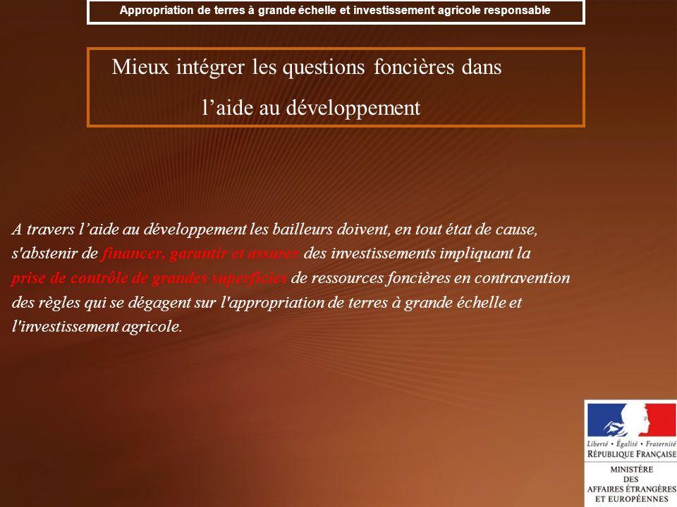 Mieux intégrer les questions foncières dans l'aide au développement