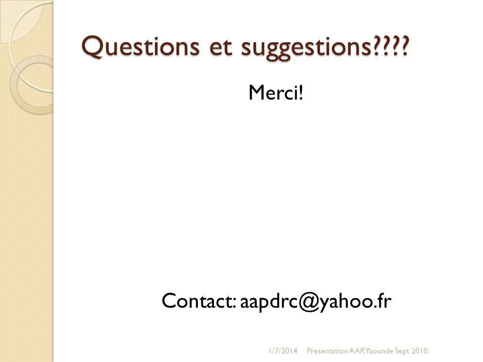 Questions et suggestions