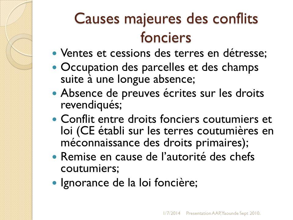 Causes majeures des conflits fonciers