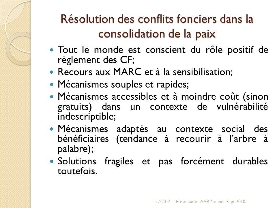 Résolution des conflits fonciers dans la consolidation de la paix
