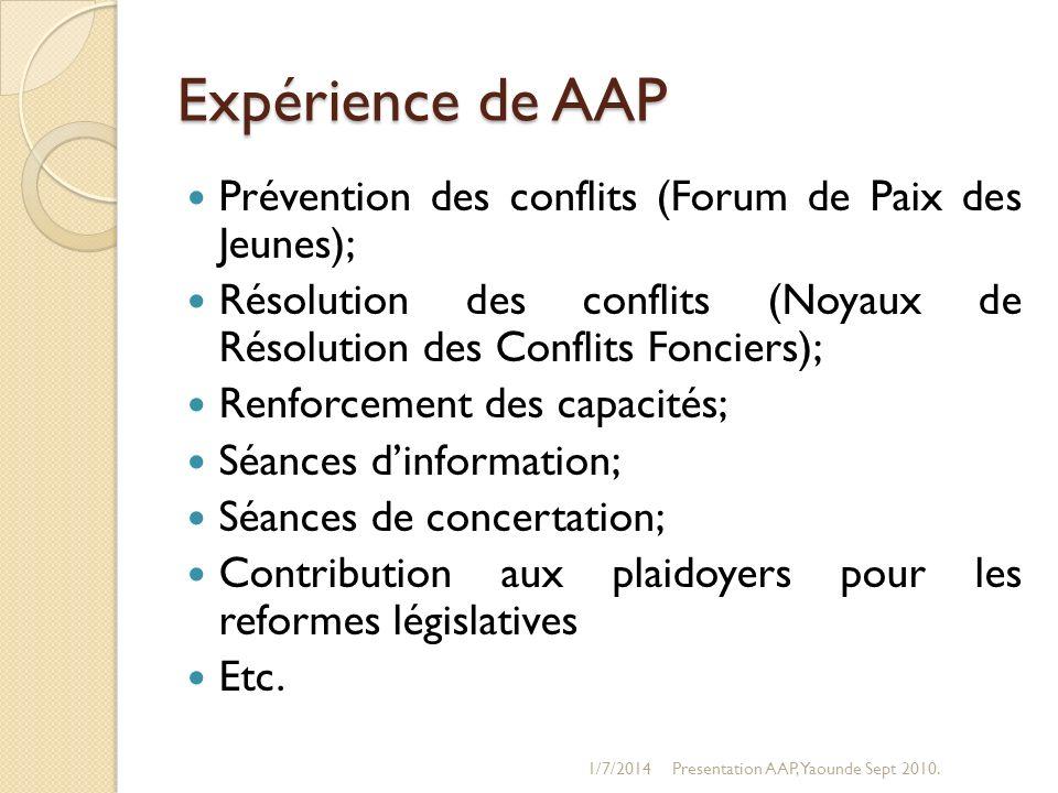 Expérience de AAP Prévention des conflits (Forum de Paix des Jeunes);