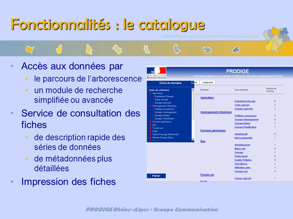 Fonctionnalités : le catalogue
