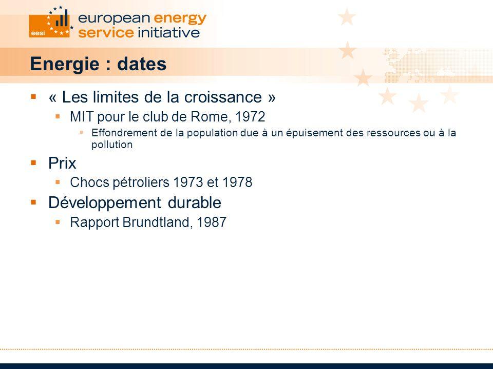Energie : dates « Les limites de la croissance » Prix