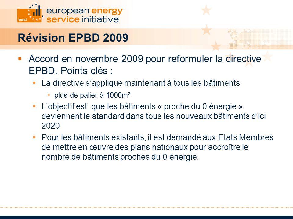 Révision EPBD 2009 Accord en novembre 2009 pour reformuler la directive EPBD. Points clés : La directive s'applique maintenant à tous les bâtiments.