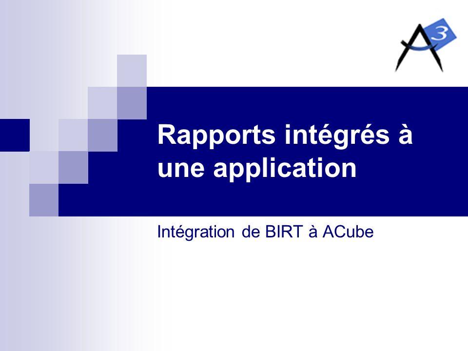 Rapports intégrés à une application