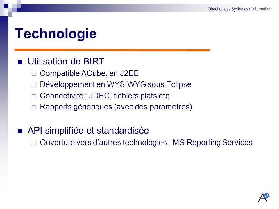 Technologie Utilisation de BIRT API simplifiée et standardisée