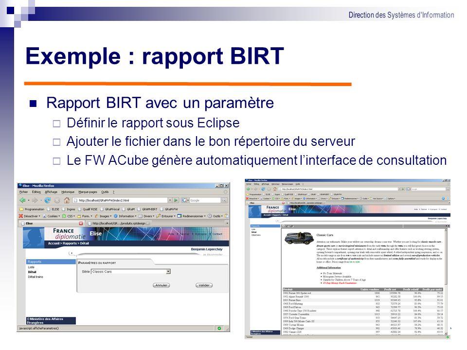Exemple : rapport BIRT Rapport BIRT avec un paramètre