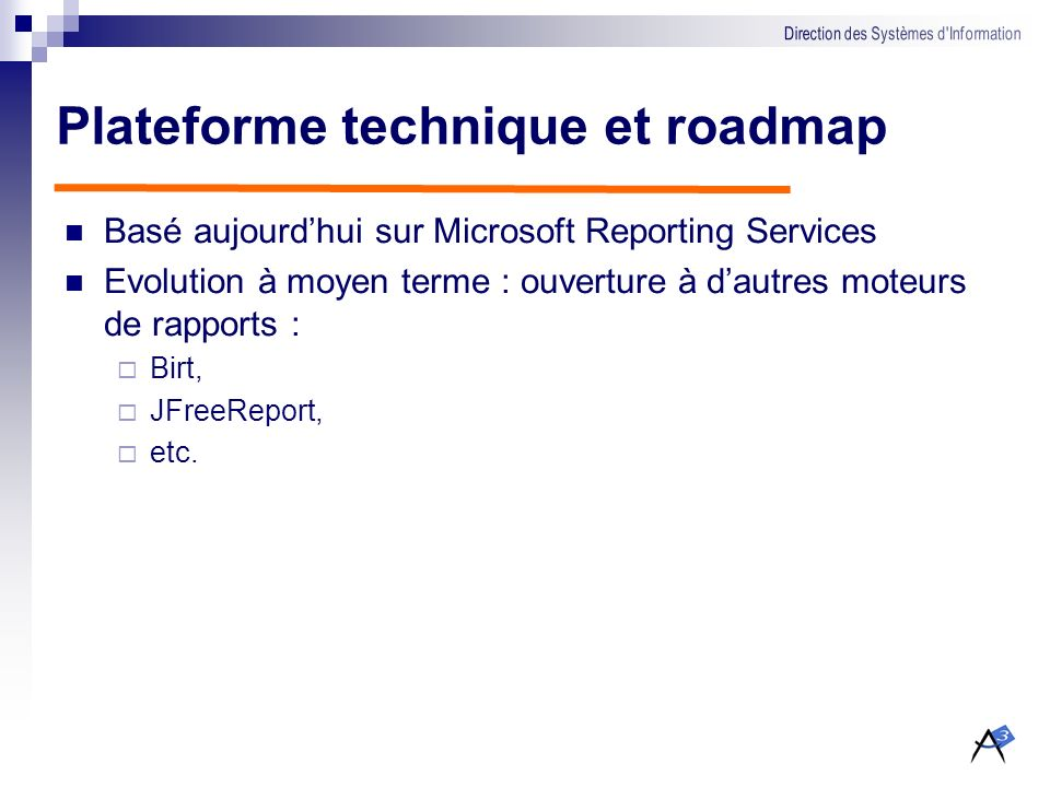 Plateforme technique et roadmap
