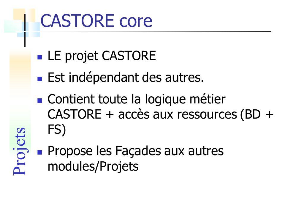CASTORE core Projets LE projet CASTORE Est indépendant des autres.