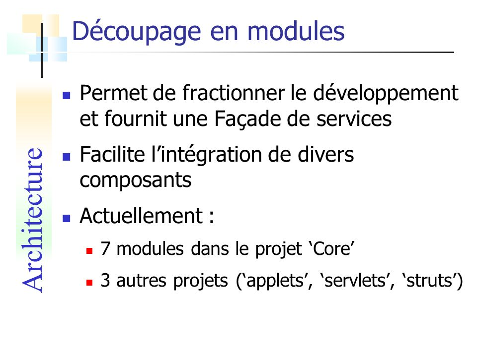 Architecture Découpage en modules